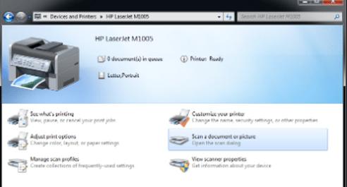 HP LaserJet M1005 scan feature