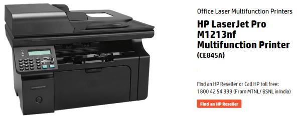 HP LaserJet Pro M1213nf Printer header