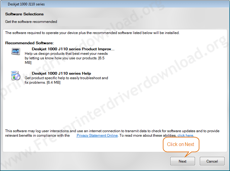 Printer Driver Installation Guide 7 Click on Next install