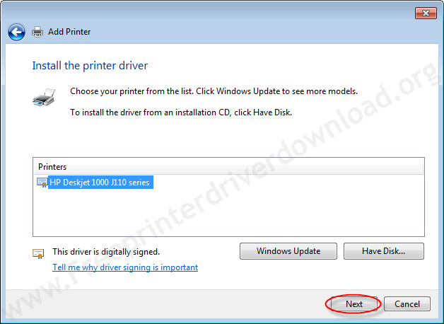 Printer Installation Manually 12 select driver and click on next