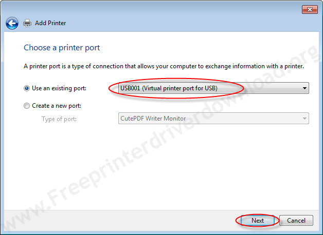 Printer Installation Manually 6 Choose a USB Port