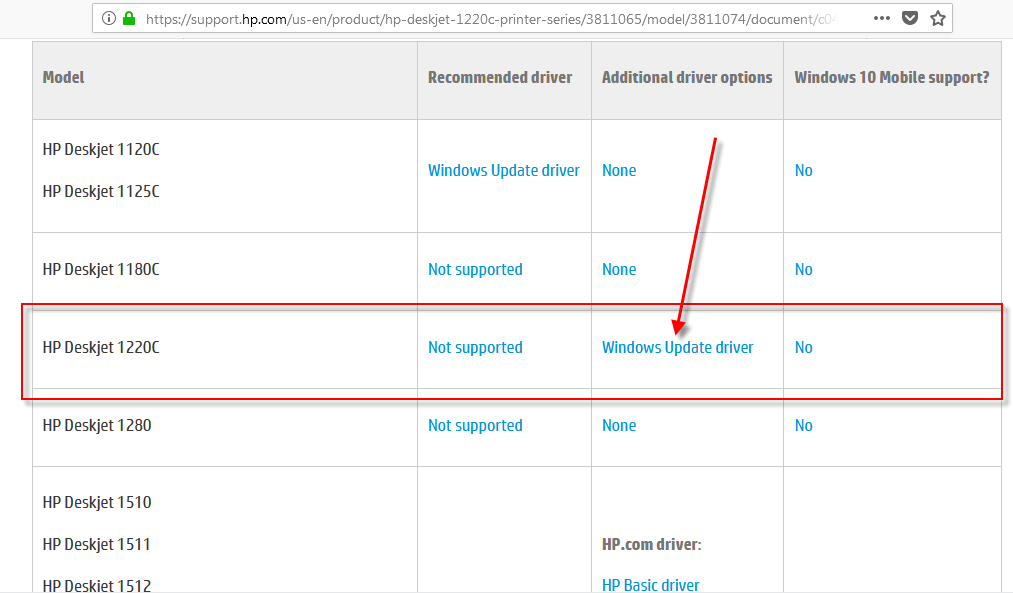 Is HP 1220c supported windows 10 OS