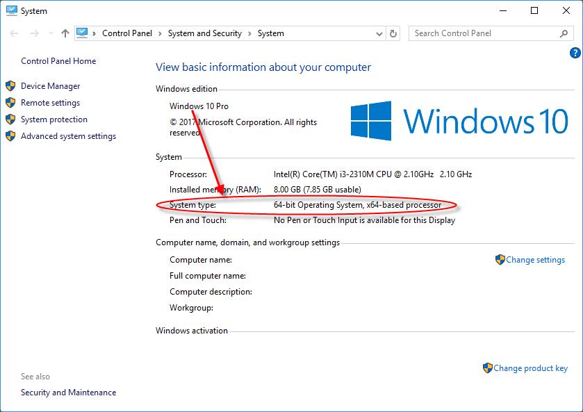 Windows 10 pro system type