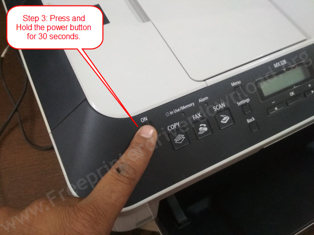 press and hold power (power drain)