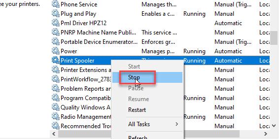stop print spooler service
