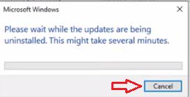 uninstalling update