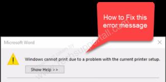 Word cannot print error