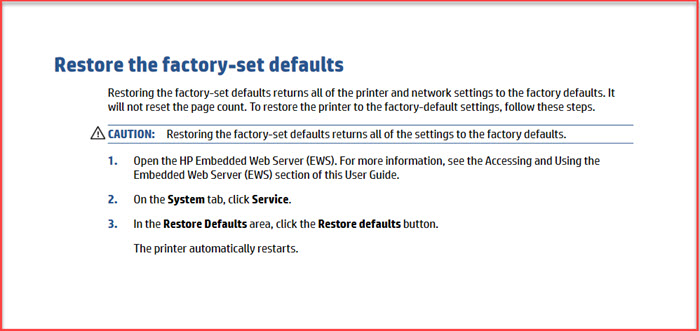 restore back to factory settings.